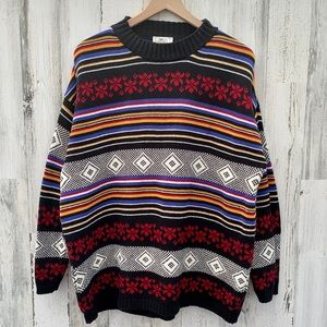 Vintage ESPRIT Geometric Striped Oversized Sweater